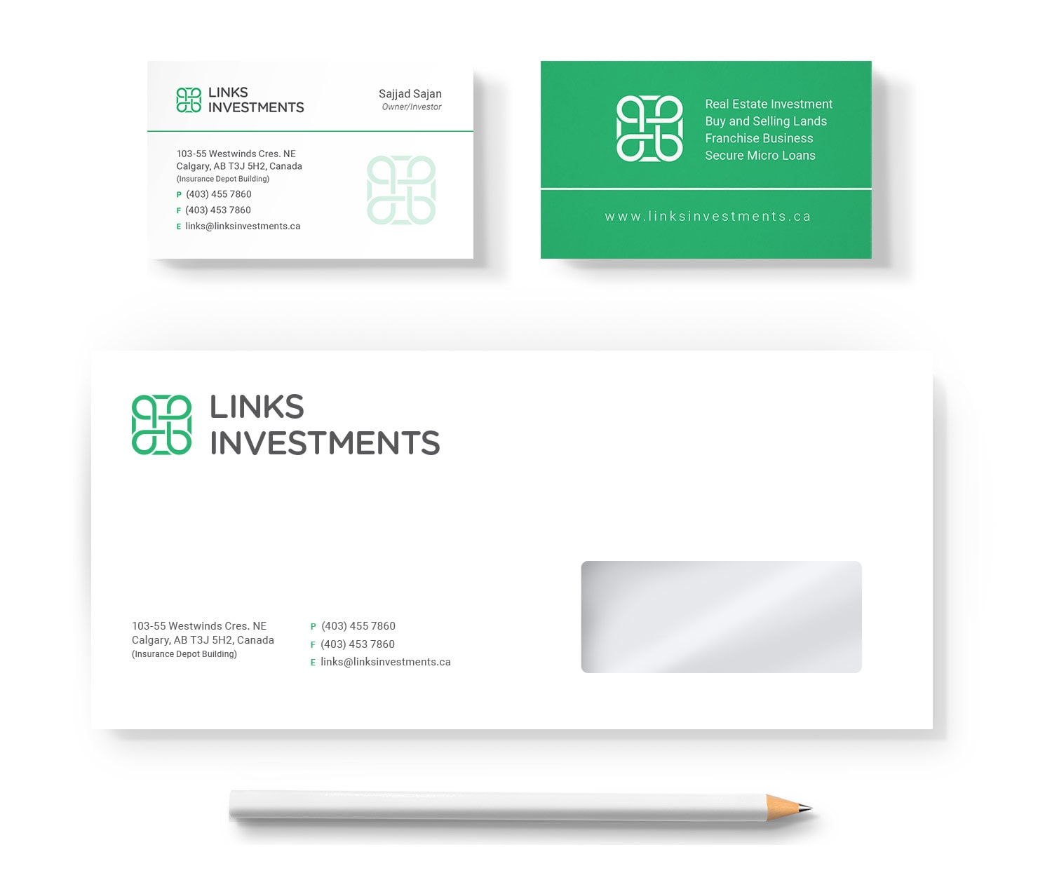Links Investments Stationery Design